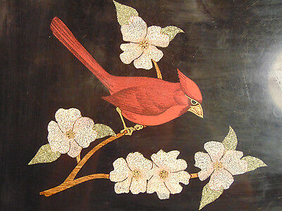 Vintage Couroc of Monterey Cardinal On Tree Serving Tray