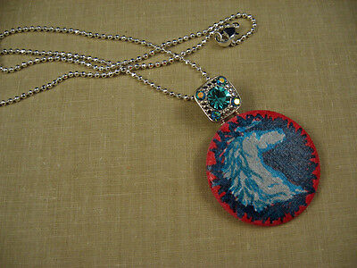 Silver Horse Hand Painted Pendant Turquoise Color Crystal Bail Bling Southwest