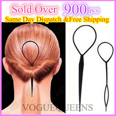 2PCS Hair Styling Tool *1 Large & 1 Small Topsy Tail Ponytail Braid Curlers