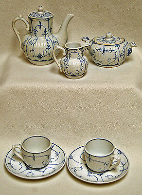 Antique Villeroy Boch DRESDEN Blue White Copenhagen Childs Porcelain Tea Set