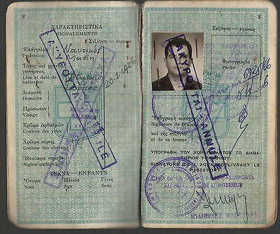 Kingdom of Greece 1965 Complete Travel Document Greek  Well Travelled Man