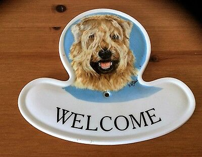 WHEATEN TERRIER 'WELCOME' PLAQUE and PLATE