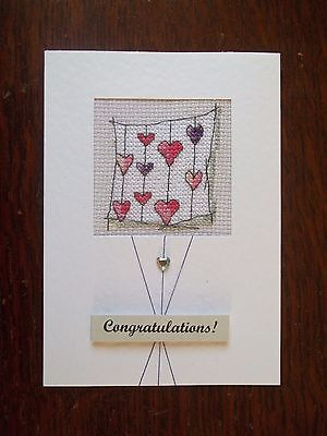 completed cross stitch card romantic wedding / anniversary engagement etc