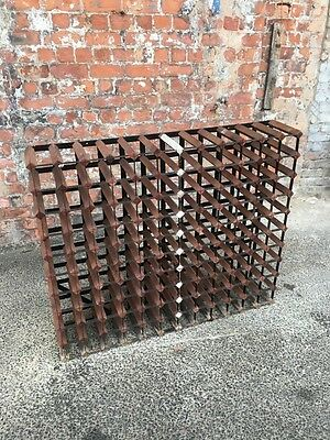 Large Rustic Wood And Metal Wine Rack / Stand / Bottle Holder - Bar Pub Cellar