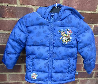 Paw Patrol Boys Jacket Winter Coat Paffed Jacket 12 - 18 Months