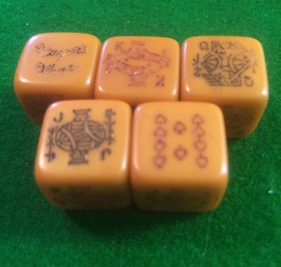 Vintage Players Please Cigarettes Set Of Bakelite Poker Dice 1920's Advertising