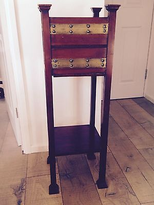 Plant Stand Arts & Crafts,  mahogany/brass banding. Possibly Shapland & Petter.