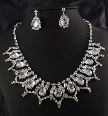 Bridal Wedding Party Drop Crystal Rhinestone Necklace & Earrings Set  WS007