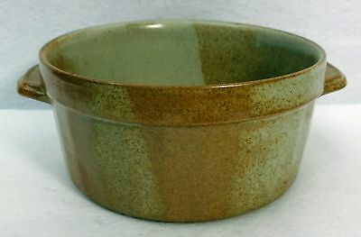 """IRON MOUNTAIN pottery WHITE TOP pattern Souffle with Handles - 7-1/4"""" x 3-1/2"""""""