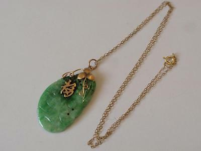 Vintage 1940S 14Ct. Gold & Jade Carved Pendant & Later Chain