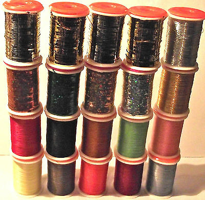 20 MIXED FLY TYING TINSEL & THREAD SELECTION.. Good gift item.