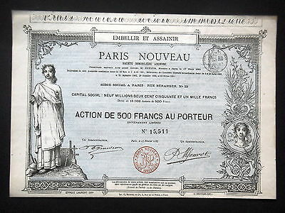 Societe Immobiliere Paris Nouveau - Action 500 Francs 1885