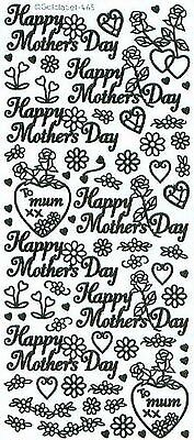 Happy Mother's Day Hearts Flowers Birthday Peel Off Stickers Gold Silver