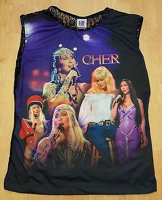 RARE Cher Farewell Tour Photo Collage Blouse Shirt Lace Back Hard To Find!