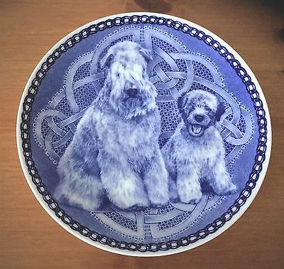 WHEATEN TERRIER DANISH BLUE PLATE MOTHER and PUPPY