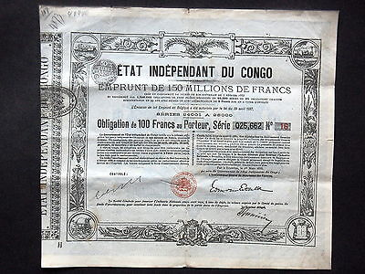 Etat Independant Du Congo - Obligation 100 Francs 1888