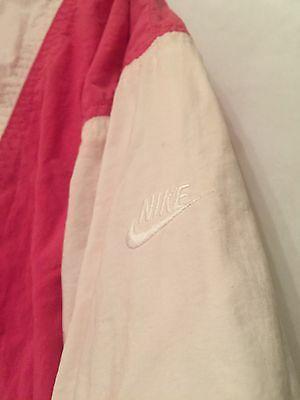 Vintage 80s Nike Pink White Windbreaker Track Suit Jacket Pants Womens Medium