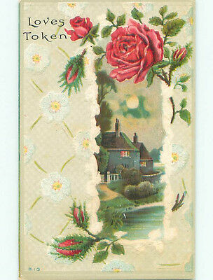 Pre-Linen HOUSES BY THE WATER AND RED ROSE FLOWERS k4329