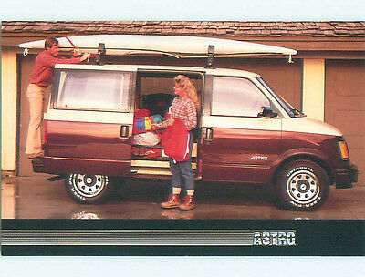 Unused 1980's postcard ad SURFBOARD ON CHEVROLET ASTRO VAN - SURFING k8992