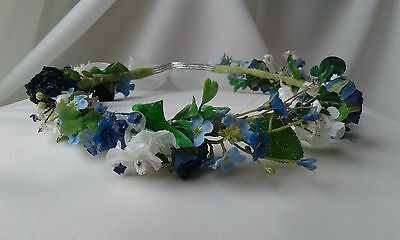 Bridesmaids flowergirls crown,  circlet, headdress in blues and ivory flowers