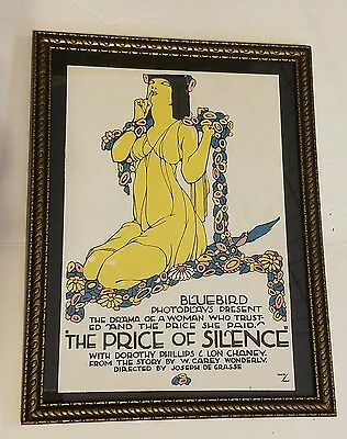 Vintage 1913 THE PRICE OF SILENCE Mini Poster LON CHANEY Original Window 1/1 WOW