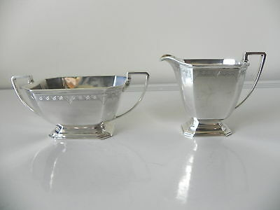 vintage art deco sterling silver creamer & sugar bowl set