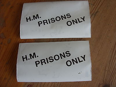 2 New Tobacco Pouch With HM Prisons Only White Plastic Black Print Two Pouches