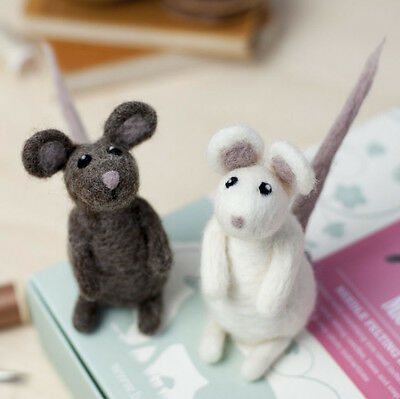 Needle Felting PAIR OF MICE Kit. No experience required - learn as you go!