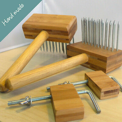 Wool Combs Set. A pair of handmade combs with table brackets. Good quality