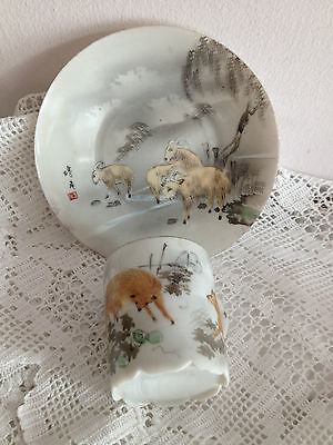 ANTIQUE Fine CHINA Japanese HAND PAINTED ANIMAL DESIGN Eggshell Cup Saucer RARE