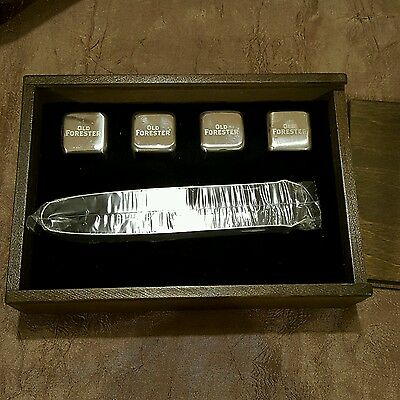 Old Forester Whiskey Boxed Set of Whiskey Stones Chilling Cubes with Tongs SS