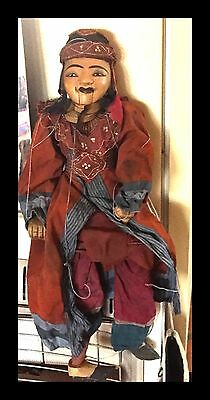 "Grand Antique Marionette Puppet Asian, All Handmade, Teak, Large, 30"",Beautiful"