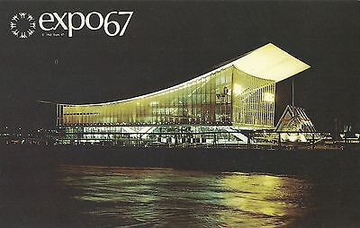 Vintage Postcard EXPO 67 The Pavilion of The Soviet Union USSR at night