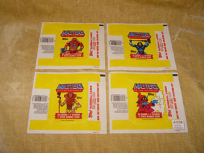 4 Different Topps Masters Of The Universe Trading Card Gum Packets/wrappers 1984