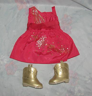 American Girl Doll Saige Pink Sparkle Dress & Gold Cowboy Boots