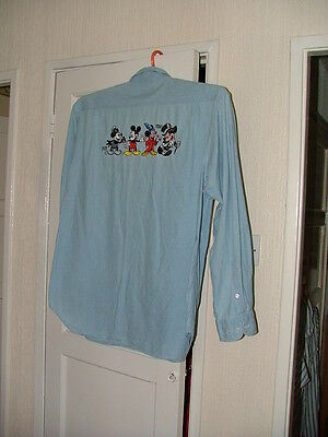 1988 Disneyland Paris Mickey Mouse Blue Cotton Shirt Embroidered Pocket and Back