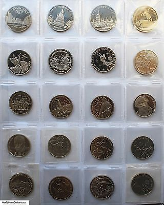 Russia And Ussr 1975 - 1995 Lot Of 42 Pcs. Of 1, 3 And 5 Roubles. Gem Proofs.