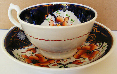 """GAUDY WELSH - Hand painted Teacup and Saucer """"Tricorn"""" Pattern - circa 1850s"""
