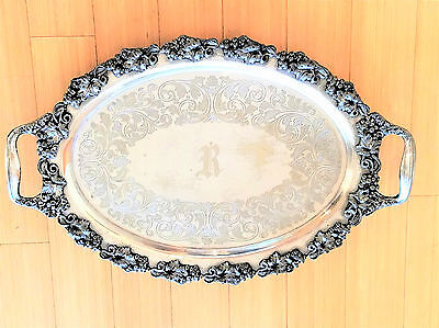 Antique Large Ornate Repousse  Footed Butler's Tray Grapes and Vines Silverplate