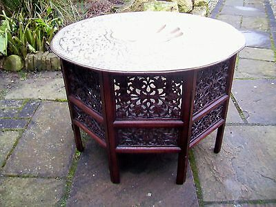 Large Antique Octagonal Folding  Anglo/ Indian   Side Table With Brass Top