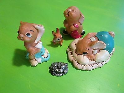 LOT of 5 Vintage Collectible Rabbits: PENDELFIN - L.K. POWELL - HUDSON PEWTER