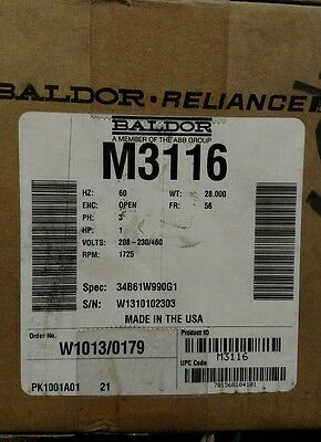 New BALDOR M3116 Electric Motor 1HP 208-230/460V 3 Phase 1725 RPM