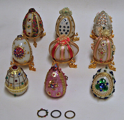 Vintage Hand Decorated Jeweled White Milk Glass Eggs Easter w/ 6 display stands