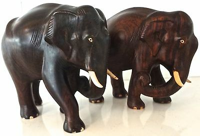 Pair Heavy Antique Chinese Carved Hardwood Elephants
