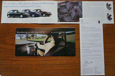 1999 Rover 200 SEi iS iL Sport Luxury Special Edition CD Leaflet/Letter/Brochure