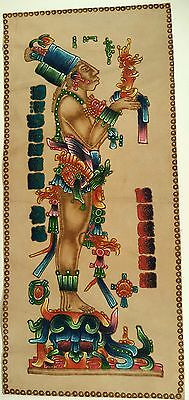 RARE Mayan Aztec Art Pyrography Leather Suede Chan-Bahlum Handpainted