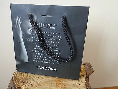 """Pandora ESSENCE Paper Gift BAG ONLY Size S 6.5""""/6.5"""" Black MEW AUTHENTIC BAG"""