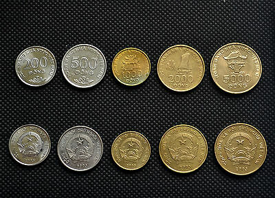 Vietnam sets of coins. 1 set of five coins. 200, 500, 1000, 2000, 5000 Dong. VF