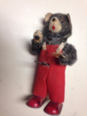 Vintage Wind-Up Old Toy Bear 1950's,Walks, Reading Book,Gray,Red Velvet,Box