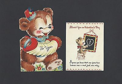 2 Old Children's Valentine's Day Cards Featuring Bears
